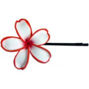 Fimo Hair Flower Large Bobby Pin Plumeria White & Red Edged