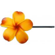 Fimo Hair Flower Large Bobby Pin Plumeria Goldenrod