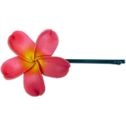 Fimo Hair Flower Large Bobby Pin Plumeria Pink & Yellow