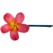 Fimo Hair Flower Large Bobby Pin Plumeria Pink & Yellow