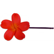 Fimo Hair Flower Large Bobby Pin Plumeria Coral