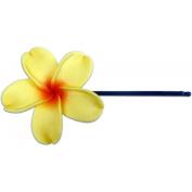 Fimo Hair Flower Large Bobby Pin Plumeria Yellow