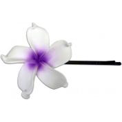 Fimo Hair Flower Large Bobby Pin Plumeria White & Purple
