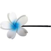Fimo Hair Flower Large Bobby Pin Plumeria White & Blue