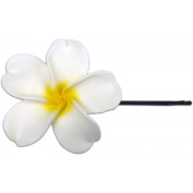 Fimo Hair Flower Large Bobby Pin Plumeria White & Yellow