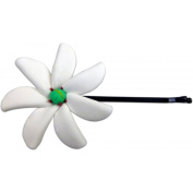 Fimo Hair Flower Large Bobby Pin Tiare With Green Centre