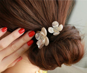 Pearls Flowers Rubber Band Casual Hair Ring for Women Headwear Hair Accessories
