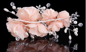 1 Pieces Beige Silky Flower Rhinestone Bridal Wedding Headpiece Head Wrap Hair Clip Pearl Hair Accessories