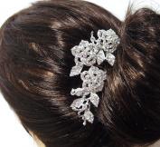 Beautyxyz Wedding Silver-Tone rose Hair Comb with Clear Austrians Crystal HB789