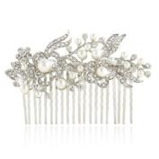 Beautyxyz Bridal Flower Cream Simulated Pearl Clear Austrian Crystal Hair Comb