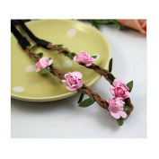 Cocokk Boho Style Floral Flower Women Hairband Festival Party Wedding Forehead Head Hair Accessories Pink