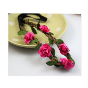 Cocokk Boho Style Floral Flower Women Hairband Festival Party Wedding Forehead Head Hair Accessories Rose Red