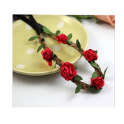 Cocokk Boho Style Floral Flower Women Hairband Festival Party Wedding Forehead Head Hair Accessories Red