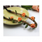 Cocokk Boho Style Floral Flower Women Hairband Festival Party Wedding Forehead Head Hair Accessories Orange