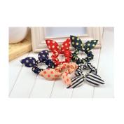 Cocokk 10pcs Cute Women's Dot Rabbit Ear Hair Bow Tie Bands Chiffon Ponytail Holder Colour Randomly