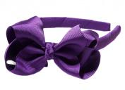 "Anna Belen Girls ""Lila"" Grosgrain Bow Headband O/S Purple"