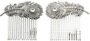 Faship 2 Pcs A Pair Ab Peacock Feather Hair Combs Bridal Wedding Party Prom
