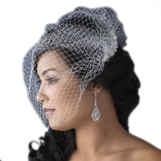 Elegance by Carbonneau Women's Bridal Birdcage Veil with Crystal and Rhinestone Comb - White or Ivory