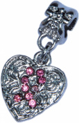 Pandora Style Antique Silver Coloured Heart with Pink Ribbon Charm