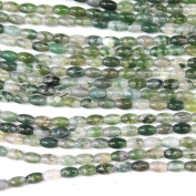 Natural Moss Agate Rice 4*6mm Findings Jewerlry Making Gemstone Loose Beads