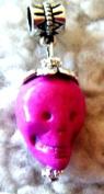 Pandora Style Hot Pink Ceramic Skull Dangle Charm