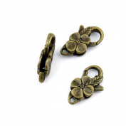 Qty:5 Jewellery Clasps Findings Supplies Wholesale Ancient Fashion Bulk Bronze Retro Supply Z71122 Flower Lobster Clasp