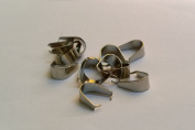 12 PCS Stainless Steel Silver Tone Pinch Clip Bail U Buckle Craft Charm Pendant 5*11 MM Clasp Staggered Edge