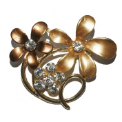 Sunny Home Vintage Plated Crystal Flower Shape Brooch Pin Clips