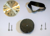 2.5cm - 2.1cm Round Mini Quartz Clock Movement with Dial, Hands and Mounting Collar