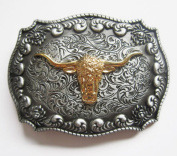 Gold Pewter Longhorn Bull Belt Buckle Texas Cowboy Big Western