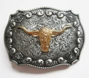 Gold Pewter Longhorn Bull Belt Buckle Texas Cowboy Big Western