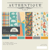 Brand New Authentique Bundle Cardstock Pad 15cm x 15cm 24/Pkg-Playful Brand New