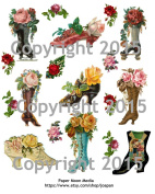 Victorian Shoes and Boots with Flowers Collage Sheet 101