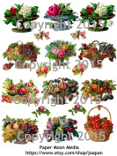 Victorian Fruit Baskets Collage Sheet