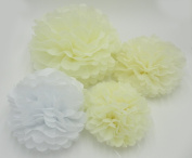 Worldoor® 12PCS Mixed Sizes White Ivory Tissue Paper Flower Pom Poms Pompoms Wedding Birthday Party Home Decoration