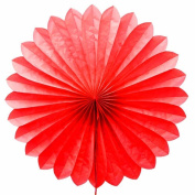 SUNBEAUTY Red 5pcs 36cm Handcraft Tissue Paper Fan Party Wedding Birthday Showers Decorations