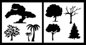 Auto Vynamics - STENCIL-TREESET01-20 - Detailed Tree / Trees Stencil Set - Includes Multiple Designs From Oak To Palm! - 50cm by 50cm Sheets - (2) Piece Kit - Pair of Sheets
