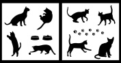 Auto Vynamics - STENCIL-CATSET01-20 - Detailed Cats & Cat Accessories Stencil Set - Includes Many Different Cats & Paw Prints! - 50cm by 50cm Sheets - (2) Piece Kit - Pair of Sheets