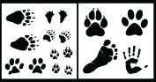 Auto Vynamics - STENCIL-FOOTPRINTSET01-10 - Detailed Animal & Human Footprint Stencil Set - Features Tracks From Dogs, Ducks, Bears, & More! - 25cm by 25cm Sheets - (2) Piece Kit - Pair of Sheets