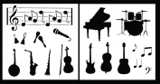 Auto Vynamics - STENCIL-MUSICSET01-10 - Detailed Musical Instruments Stencil Set - Features Rock & Band / Orchestra Instruments! - 25cm by 25cm Sheets - (2) Piece Kit - Pair of Sheets