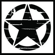 Auto Vynamics - STENCIL-INVSTAR-DISTRESSED-10 - Distressed Military Invasion Star Stencil - A Weathered Version Of The Iconic WWII Symbol! - 25cm by 25cm Sheet - (1) Piece Kit - Single Sheet