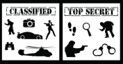 Auto Vynamics - STENCIL-SPYSET01-20 - Detailed Secret Agent / Spy Stencil Set - Features Multiple Characters & Vehicles / Tools! - 50cm by 50cm Sheets - (2) Piece Kit - Pair of Sheets