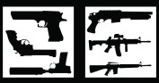Auto Vynamics - STENCIL-GUNSET01-20 - Detailed Hand Guns & Rifles Stencil Set - Includes Pistols & Long Guns! - 50cm by 50cm Sheets - (2) Piece Kit - Pair of Sheets