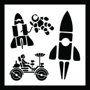 Auto Vynamics - STENCIL-SPACECUTE-10 - Cute Space Shuttle & Astronaut Stencil Set - Also Includes Rocket & Lunar Rover! - 25cm by 25cm Sheet - (1) Piece Kit - Single Sheet