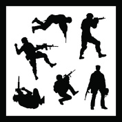 Auto Vynamics - STENCIL-SOLDIERS01-20 - Detailed Military Soldiers Stencil Set - Includes Standing & Crouching Silhouettes! - 50cm by 50cm Sheet - (1) Piece Kit - Single Sheet