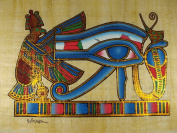"ANCIENT HORUS EYE ORIGINAL EGYPTIAN HAND PAINTED PAPYRUS 12""x16"""