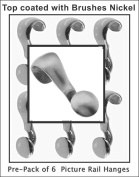 Pre-Pack of 6 Mini-Picture Rail hangers, handmade of Solid Brass with BRUSHED NICKEL Top coat. The pictures will tell the full story of the exception product.