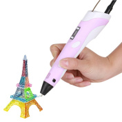 [New Version Upgraded] Megadream® 3D Stereoscopic Printing Pen with LCD Display for 3D Drawing Doodling + Modelling + Arts + Crafts Printing with 3 Free 1.75mm ABS Filaments - Pink
