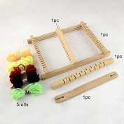 1 Set Wood Knitting Looms, with Yarns, Warp Weft Adjusting Rods, Combs and Shuttles, Beige Colour