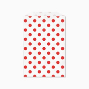 25 Red Polka Dots on White Middy Bitty Paper Bags 13cm X 19cm